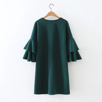 Double Flared Sleeve Casual Dress