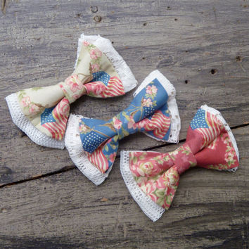 Bows and Lace Hair Clip Set - American Flag Set of Three