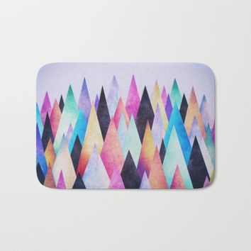 Colorful Abstract Geometric Triangle Peak Wood's Bath Mat by Badbugs_art