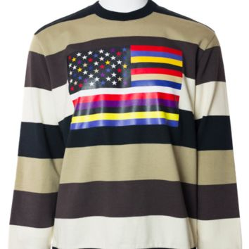 Givenchy Men's Striped Flag 100% Cotton Sweatshirt