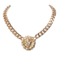 Gold Metal Lion Head Pendant Necklace Newest Chain Chunky Shiny Cut Jewelry