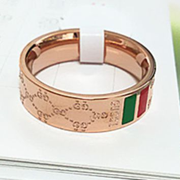 GUCCI titanium steel plated rose gold high end quality diamond shaped red green ring