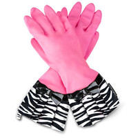 Gloveables Fashion Kitchen Gloves Pink with Zebra and Black Bow