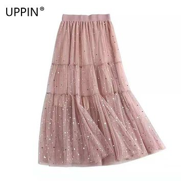 UPPIN 3 Layers Sweet Midi Tulle Skirt Stars Sequin Pleated Skirts Womens Long Femme 2019 Spring Summer Jupe Falda Tul Plisada