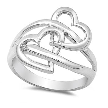 Interlocked Hearts Solid 925 Sterling Silver Ring
