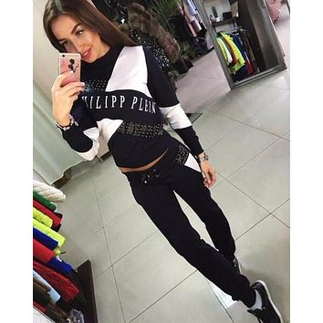 Philipp Plein Sport Print Top Sweater Pullover Pants Trousers Set Two-Piece Sportswear