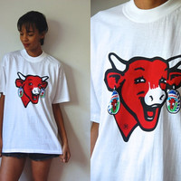 Vtg French Laughing Cow Print White SS Cotton Shirt