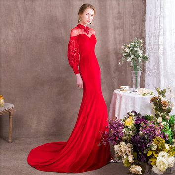 High Collar Full Lantern Sleeves Train Sequins Evening Dresses Formal Party Dress