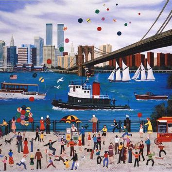 Beneath The Brooklyn Bridge - Limited Edition Artist Proof Lithograph on Paper by Jane Wooster Scott