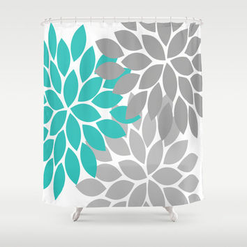 Grey And Turquoise Shower Curtain. Turquoise Gray Shower Curtain CUSTOM You Choose Colors Flower Pe Best Dahlia Products on Wanelo