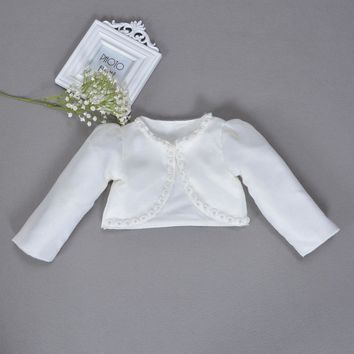 2017 Children Shawl organza short Coat Girls Long Sleeved Lace Coats Baby Wedding Infant Jackets White Pink Red For Frocks