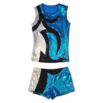 O3CHSET041 - Obersee Cheer Dance Tank and Shorts Set - Abby Turquoise