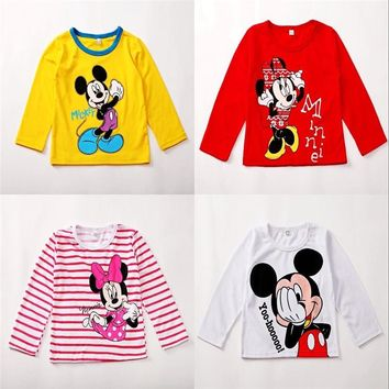 Hot sale Minnie Mouse Baby Girls Boys Kids Long Sleeve Blouses Tops Shirt Hoodie Casual 2-5Y O-Neck