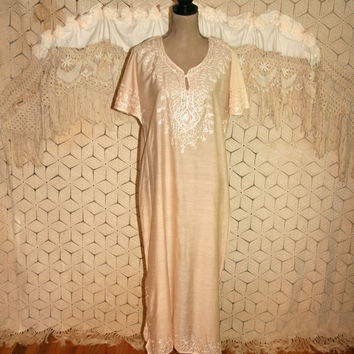Womens Kaftan Caftan MuuMuu Long Tunic Dress Ethnic Clothing Moroccan Light Peach Blush Pink Embroidered Short Sleeve Large Womens Clothing