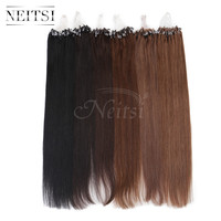 """Neitsi 16"""" 20"""" 24"""" 1g/s 50g 100g Micro Loop Ring Links Beads Human Hair Straight Extensions 100% Indian Virgin Remy Hair Piece"""