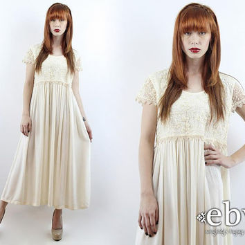 Vintage 90s Cream Embroidered Sheer Lace Maxi Dress M L Hippie Wedding Dress Hippie Dress Boho Dress Hippy Wedding Dress Boho Wedding Dress