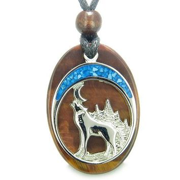 Howling Wolf Moon Amulet Evil Eye Protection Powers Red Tiger Eye Gemstone Pendant Necklace