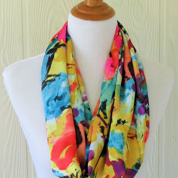 Floral Infinity Scarf, Vibrant Tropical Floral Scarf, Circle Scarf, Loop Scarf, Tube Scarf , Women's Scarves, Eclectasie