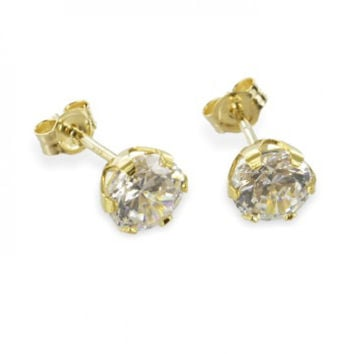 Zirconia Studs (8ct yellow gold/5.0mm/0.76grams)