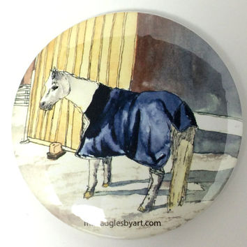 Watercolor Horse Standing In Snow Collectable Pin On Artist Button, Cute Pony Wearing Blanket In Front of Barn Collectors Art Button