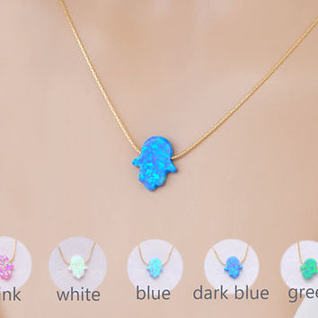 Hamsa Choker Necklace, Opal Hamsa Necklace, Hand Choker, Gold Hamsa Necklace, Blue Opal Necklace, Turquoise Choker, Hand of Fatima Necklace
