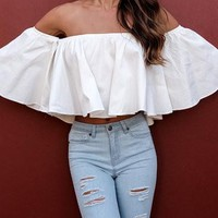 White Off Shoulder 3/4 Bell Sleeve Crop Top