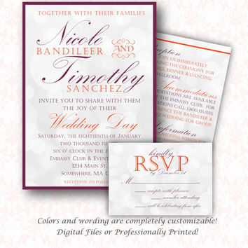 Fancy Simple Wedding Invitation Set.  DIY Printable or Printed Sets.  Wedding Invite, RSVP, Enclosure Card or Save the Date.  Eggplant/Coral