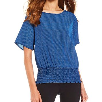 MICHAEL Michael Kors Mini Stamped Diamonds Print Smocked Hem Top | Dillards