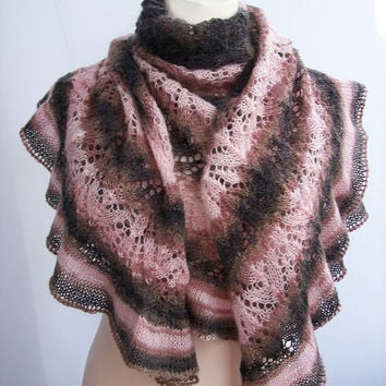 brown and pink knitted shawl my inspiration  unique gifts romantic feminine women clothing