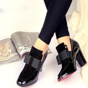 New Red Bottom high heels pumps square toe genuine leather shoes Today's Sale
