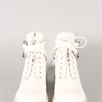 Qupid Valiant-06 Buckle Cut Out Bootie