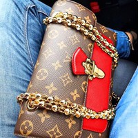 LV fashion hot seller shopping bag lady print patchwork color wine god shoulder bag LV  Coffee print+Red