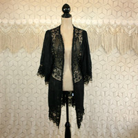 Sexy Black Lace Duster Jacket Short Kimono Robe Romantic Bohemian Boho Cardigan Victorian Edwardian Vintage Style Large Womens Clothing