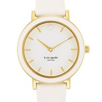 kate spade new york 'metro' enamel bezel leather strap watch, 38mm