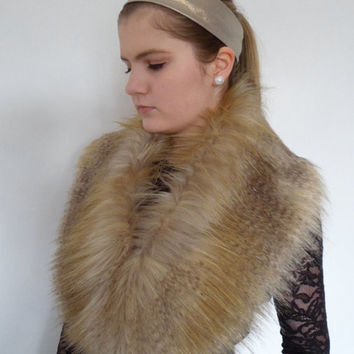 luxury faux fur collar, stole, shawl, wrap, shrug, gold, cream, brown
