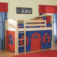 Natural Low-Loft Twin Bed with Bottom Playhouse Curtain and Ladder