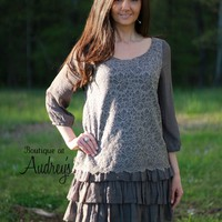 Gray Tunic with Lace Front and Back and Ruffle Hem