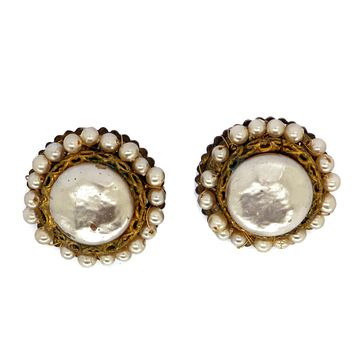 Miriam Haskell Gold Glass Pearl Clip Earrings