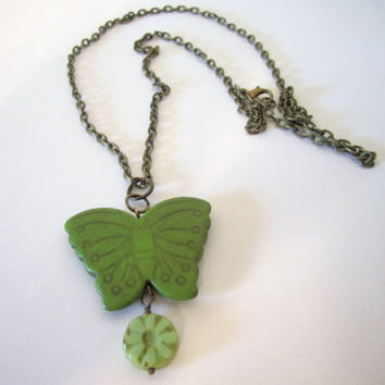 Butterfly Necklace  Green Howlite by 636designs on Etsy