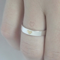 VALENTINES DAY SPECIAL Hidden Heart 925 Sterling silver Ring with tiny gold plated heart and carved heart on inside. Valentines Engagement