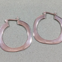 Vintage Hoop Earrings Sterling Silver Large Wide Narrow Unique Attractive Shape Appearance Lever Back Ear Wires Creole Standout Style