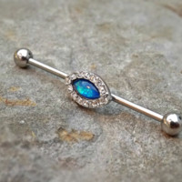 Fire Opal Industrial Barbell Blue Opal Center 14ga Body Jewelry Ear Jewelry Double Piercing Rhinestone