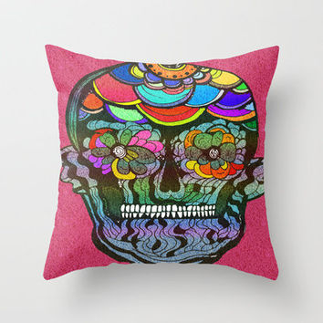 Mexican Skull  Throw Pillow by Caroline Figueira Design