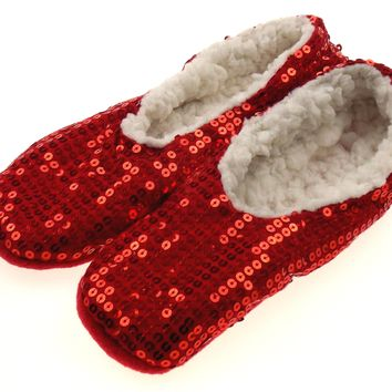 Capelli New York Red Sequin Slipper Socks with Grippers Choice Size