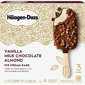 Haagen-Dazs, Vanilla Milk Chocolate Almond Ice Cream Bars, 3 Count , 9 oz (Frozen)