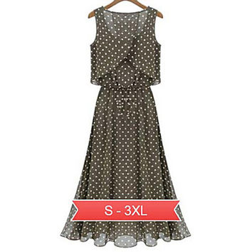 Women's Summer Round Collar Graceful Dot Printed Long Dress
