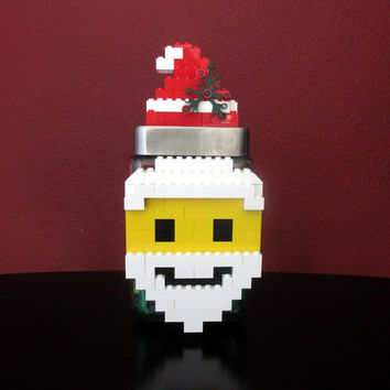 Lego Party Santa Christmas Birthday Gift Centerpiece.LEGO Christmas Birthday Gift.Monogram.LEGO Candy Jar.Hostess Gift.Home Decor.