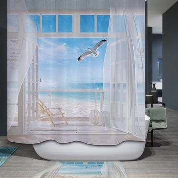Comwarm Summer Coastal Beach Scenery 3D Polyester Waterproof Shower Curtain Warmth Cozy Mildew Resistant Bath Room Curtain