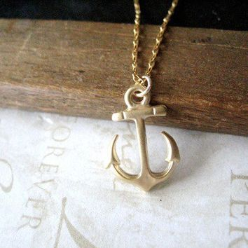 AHOY anchors away sailor necklace gold by brideblu on Etsy