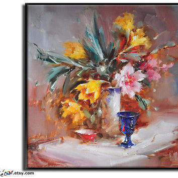 Original Painting, Flower Oil Painting, Large Wall Art, Abstract Art Still Life Painting Canvas Art. Living Room Art